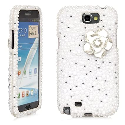 new style 5a334 f597c Galaxy Note 2 Case, iSee Case (TM) Bling Crystal Diamond Rhinestone Hard  Full Cover Case for Samsung Galaxy Note 2 N7100 (Note2-3D) (White Pearl  White ...