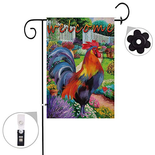 Pinata Rooster Garden Flag Sets,Double Sided and Burlap Chanticleer Animal Flags with a Rubber Stopper Stop and a Anti-Wind Clip,12