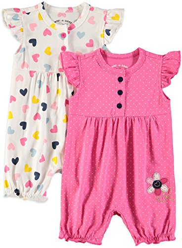 Wan-A-Beez Baby Girls' 2 Pack Embroidered Sleeveless Romper (Pink Daisy, 0-3 Months) ()