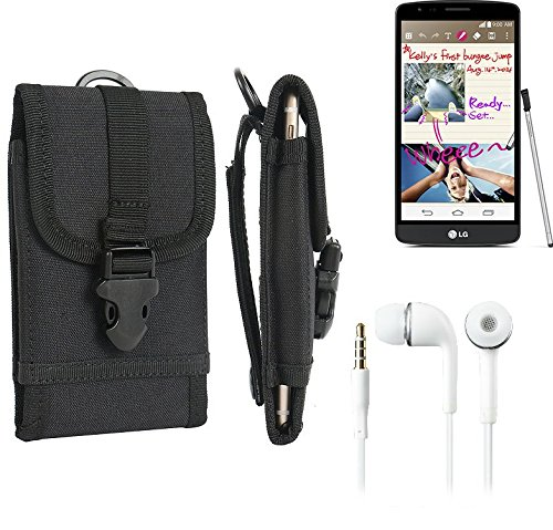 bolsa del cinturón / funda para LG G3 Stylus, negro + Auriculares   caja del teléfono cubierta protectora bolso - K-S-Trade (TM)