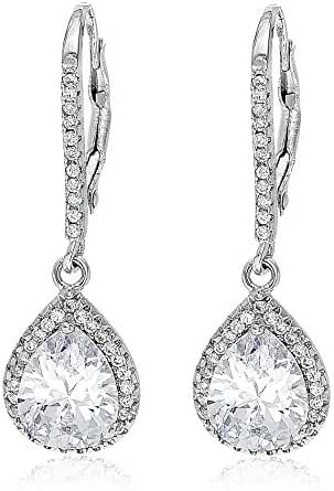 18K White Gold Over Sterling Silver Oval or Teardrop Pear Halo Cubic Zirconia Dangling Leverback Earring