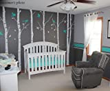Six Big Birch Trees (White) with Flying birds - Beautiful Tree Wall Decals for Kids Rooms Teen Girls Boys Wallpaper Murals Sticker Wall Stickers Nursery Decor Nursery Decals