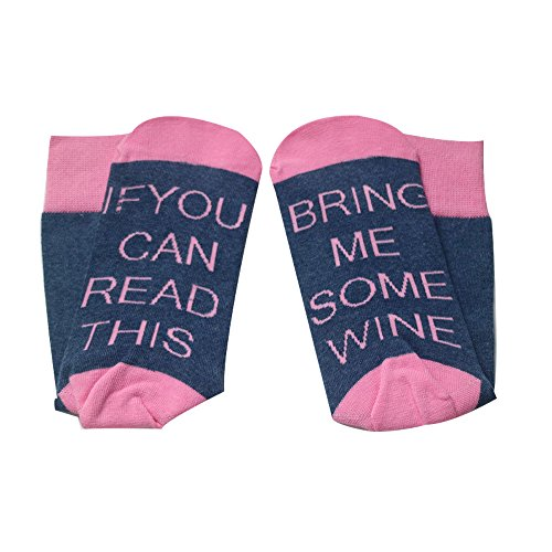 """Nastafi Comfort Cotton Socks """"If you can read this bring me a glass of wine"""" (Pink Blue)"""