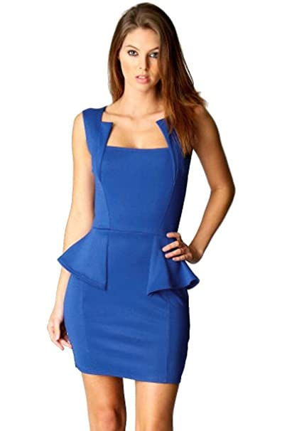 Vestido corto peplum azul volante de fiesta elegante