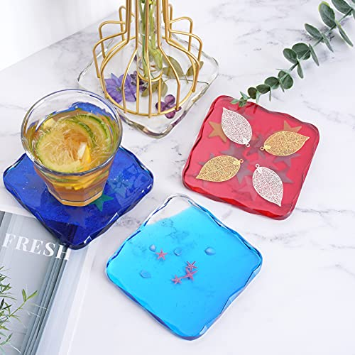 ZeMooon 4 Pack Coaster Resin Molds,Diamond Edge Square Coaster Molds for Resin Casting, Epoxy Resin Silicone Tray Mold