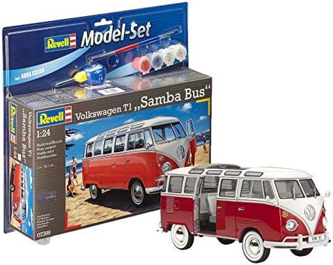 Revell 67399 Volkswagen VW T1 Bulli Samba Bus, Maßstab 1:24, 18,1cm Spielzeug originalgetreuer Modellbausatz für Fortgeschrittene, mit Basis-Zubehör, unlackiert