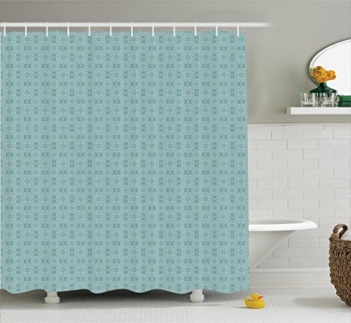 Decorative Floral Ornament (Ambesonne Home Decor Collection, Vintage Round Floral Pattern with Elegant Ornaments Moroccan Style Decorative Monochromic Print, Polyester Fabric Bathroom Shower Curtain Set with Hooks, Teal)