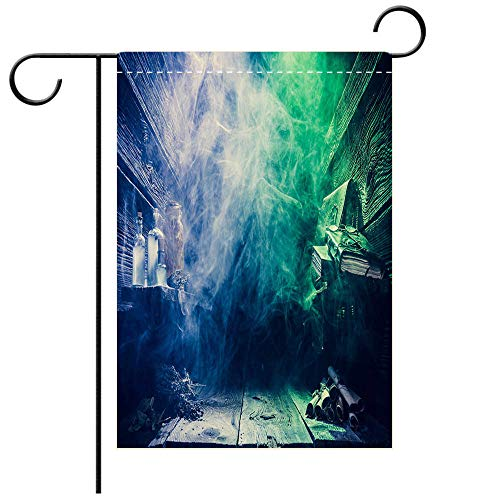 BEICICI Artistically Designed Yard Flags, Double Sided Magical Witcher Cottage with Copy Space for Halloween Best for Party Yard and Home Outdoor -