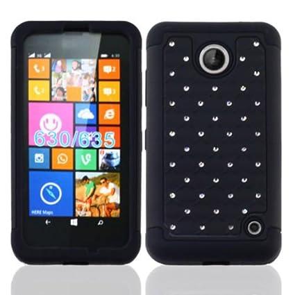 sports shoes 927ff ace6e Nokia Lumia 635 Case, Premium Durable Hard&Soft Hybrid Gel Rhinestone Bling  Armor Defender Case For Nokia Lumia 635【Storm Buy】 (Bling black)