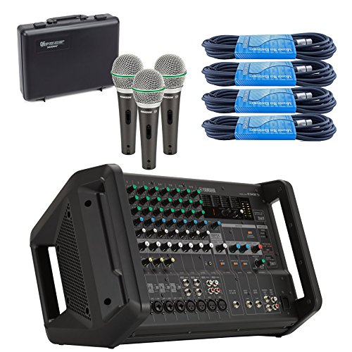 (Yamaha EMX5 12-Input Stereo Powered Mixer with Effects Bundled with Samson Q63P Dynamic Supercardioid Handheld Mic (3-Pack) and 4 x 20-Foot XLR Cables)