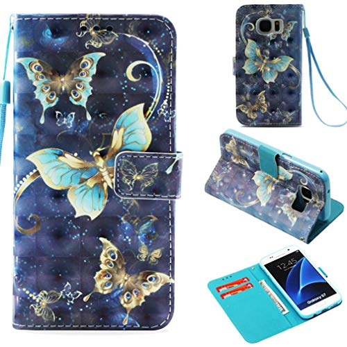 Galaxy S7 Case,Premium Pu Leather Full Protective Case with Inner Soft Bumper Drop Proof Durable Slim Card Holder Kickstand Case Birthday Gift for Girl for Samsung Galaxy S7 -Gold-Rimmed Butterfly