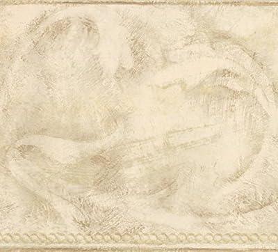 Beige Brown Abstract Wallpaper Border Wave Design, Roll 15' x 7''