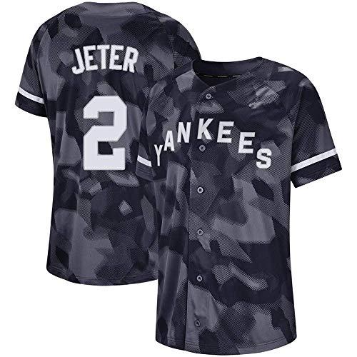 DukeLy Mens_Derek_Jeter_Grey_Camo_Cool_Base_Player_Jersey
