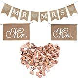 Buytra Rustic Wedding Decorations Set Including Burlap MR MRS Bunting Banner, Mr Mrs Chair Sign, 100 Pack Wooden Love Heart Slices