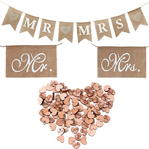 Burlap Wedding Decorations (Buytra Rustic Wedding Decorations Set Including Burlap MR MRS Bunting Banner, Mr Mrs Chair Sign, 100 Pack Wooden Love Heart)