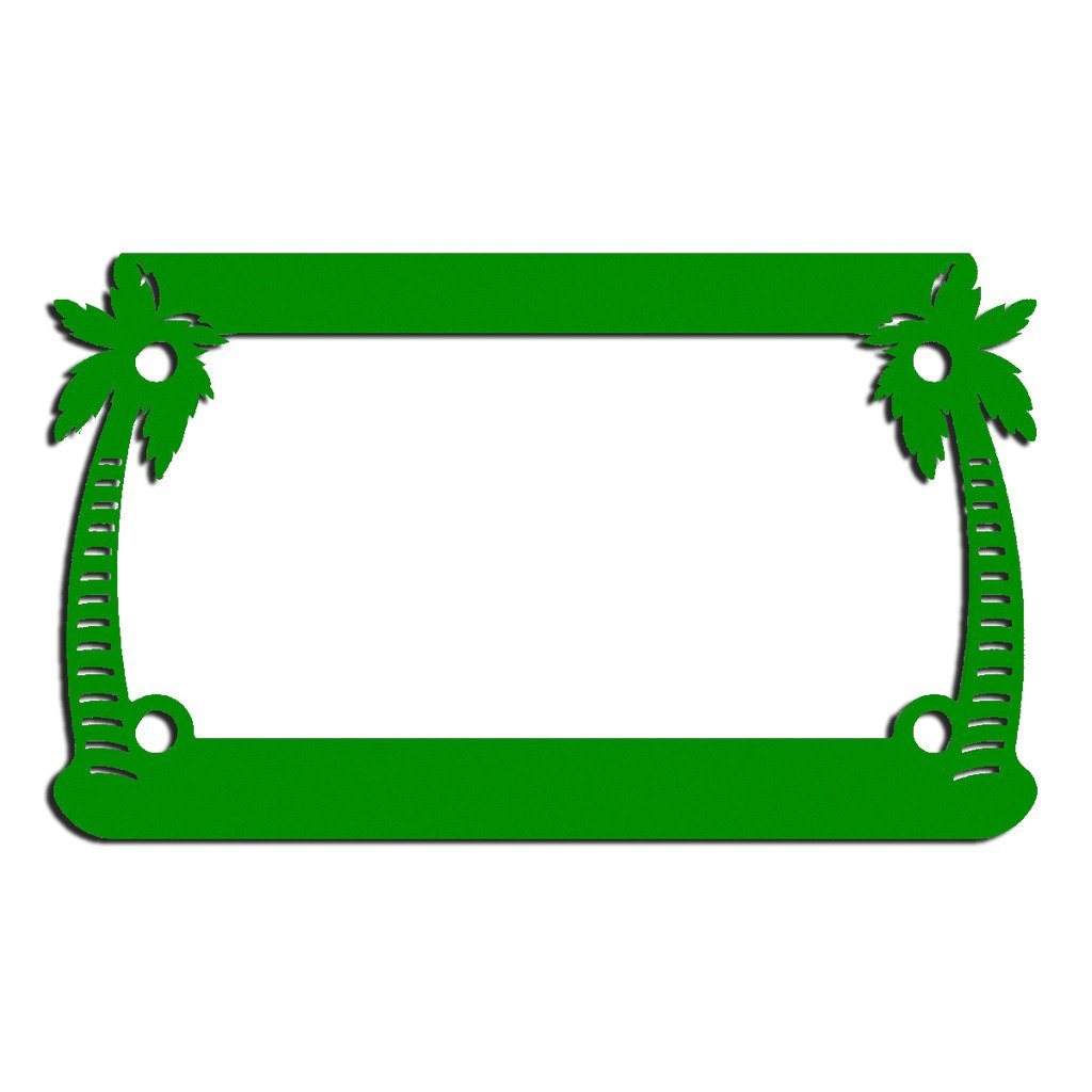 Ferreus Industries White Powdercoat Motorcycle License Plate Frame Palm Tree Paradise Palm Tree 1 Piece LIC-127-White