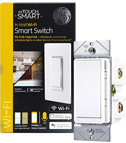 GE myTouchSmart WiFi Smart Light Switch, 3-Way/Single Pole, Works with Alexa, Google Assistant, 2.4GHz, No Hub Needed, Neutral Wire Required, White & Light Almond, 40792