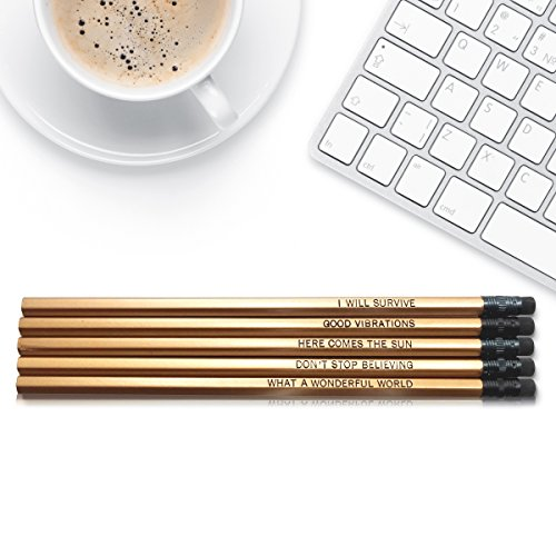 Fresh Prints of CT Good Vibes - Inspirational Pencils Engraved With Funny And Motivational Sayings For School The Office