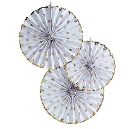 Rays Hanging - Ginger Ray PM-937 Pick And Mix Foiled Polka Dot Paper Fan Hanging Pinwheel Decorations (3 Pack), Gold