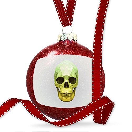 Christmas Decoration Low Poly Animals Modern design Green Skull Ornament by NEONBLOND
