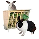 """Beaks And Paws B&P Wooden Hay Rack With Cover - Large Hay Manger With Seat for Bunnys Chinchillas Guinea pigs 9.8x6.7x8.6"""""""