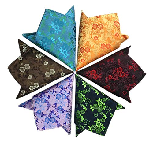 (6PCS Men Paisley Pocket Square Set Retro Vine Handkerchief Suit Hankies Accessories Set Wedding Party)