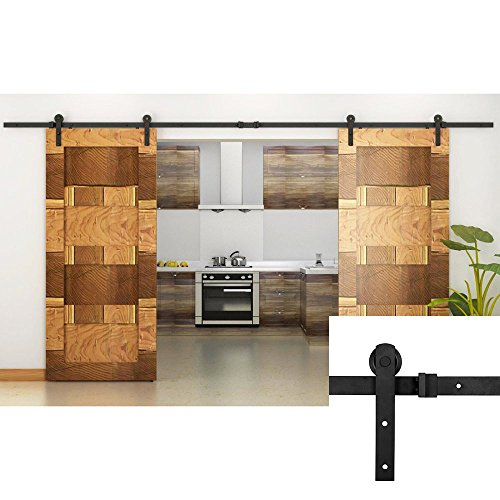 Homedex 13 FT Double Door Sliding Barn Door Hardware (Black) (I Shape Hangers)