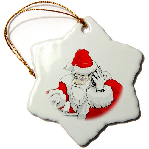 3-Inch 3dRose ORN/_181643/_1 Dj Santa Claus Mixing The Christmas Party Track Snowflake Ornament Porcelain