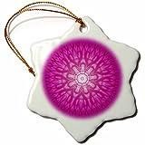 3dRose Andrea Haase Art Illustration - Purple Mandala Illustration - 3 inch Snowflake Porcelain Ornament (orn_268249_1)