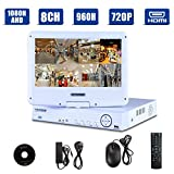 8CH 1080N AHD/Onvif 720P 1080P Hybrid NVR/960H CCTV Network Security DVR 3 in 1 w/ 10.1inch LCD Monitor P2P QR Scan Easy Setup Phone Remote View HDMI VGA Output Motion Detection(White,No HDD) For Sale