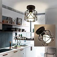 NOCHX Metal Retro Ceiling Light Industrial Flush Mount 1 Light Fixture Mini Edison Kitchen Bar Light (Bulb Not Included) (4.74.76.7 inch) ,Black