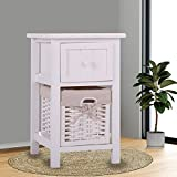 JAXPETY Night Stand 2 Layer 1 Drawer Bedside End Table Organizer Bedroom Wood W/Basket (1)