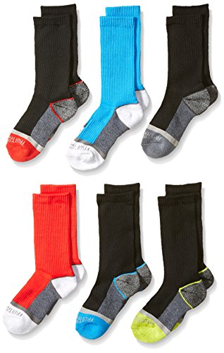 Fruit of the Loom Big Boy's 6 Pack Sport Crew Socks, Black, Shoe Size 3 to 9