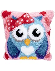Beyond Your Thoughts DIY Latch Hook Kits Cute OWL Rug Pattern Printed 16X16 inch, Crochet Needlework Crafts for Kids and Adults