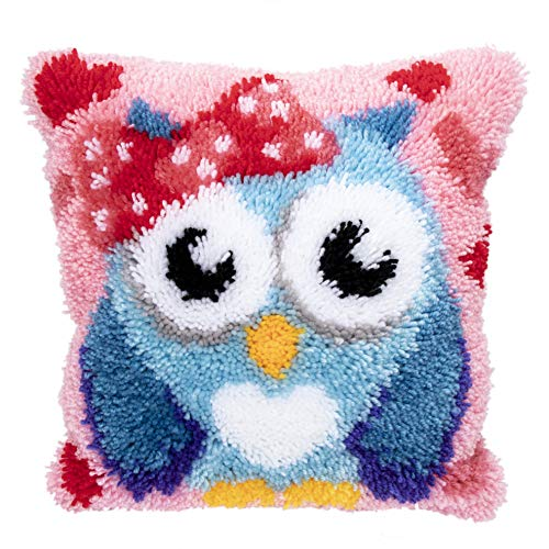 Beyond Your Thoughts DIY Latch Hook Kits Throw Pillow Cover Cute OWL Rug Pattern Printed 16X16 inch, Crochet Needlework Crafts for Kids and Adults ()
