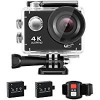 NEXGADGET 4K WIFI Action Camera 16MP 170 Degree Wide Angle Waterproof Sports Camera with 2.4 G Remote Control and 2 Batteries