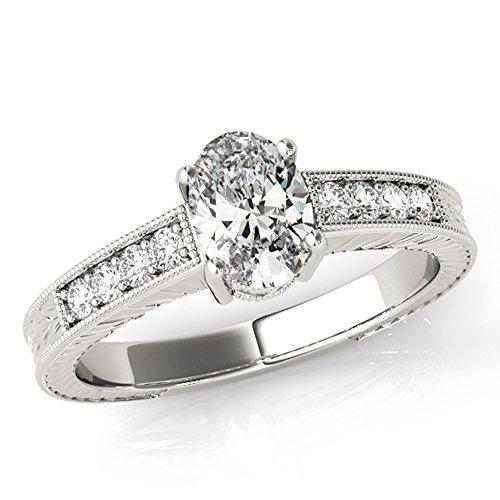Scintilenora Vintage Inspired Oval Cut Diamond Engagement Ring 18k Gold 1 1/4 TDW