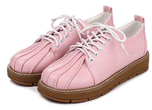 Bequeme mit Aisun Zehe runde Schnürschuhe Damen Pink OxwTA