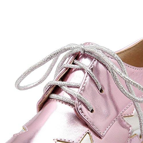 AllhqFashion Mujer Tacón Medio Pu Colores Surtidos Cordones Puntera Cerrada Puntera Cuadrada De salón Rosa