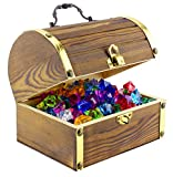 "Wooden Pirate Chest with 240 Colored ""Jewels"" (Plastic Gems); 6"" x 4.5"" x 5"" Antique Style Wood Box with Brass Accents; 1 Lb. Acrylic Gemstones"