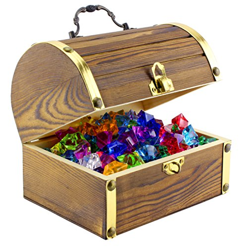"Wooden Pirate Treasure Chest with 240 Colored ""Jewels"" (Plastic Gems); 6"" x 4.5"" x 5"" Antique Style Wood Box with Brass Accents; 1 Lb. Acrylic Gemstones"