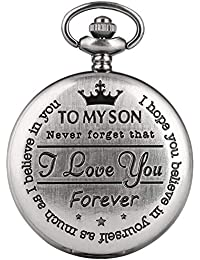 "Retro Pocket Watch, Engraved Pocket Watch, Quartz Analog Dial""to My Son I Love You"" Boy'sPocket Watch, Xmas Gift"