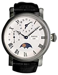 Parnis Men's Hand Wind Mechanical Watch Two Times Moon Phase Seagull Movement St36 by Parnis