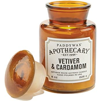 Paddywax Apothecary Collection Scented Soy Wax Jar Candle, 8-Ounce, Vetiver & Cardamom