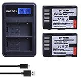 Batmax 2Pcs1860mAh DMW-BLF19 BLF19 DMW-BLF19e DMW-BLF19PP Batteries + Rapid LCD Dual USB Charger for Panasonic DMW-BLF19 Lumix G9 Panasonic DMC-GH5 DMC-GH3 DMC-GH3A DMC-GH3H DMC-GH4 DMC-GH4H DC-GH5S