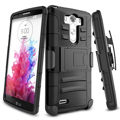 LG G3 Case,TILL [Knight Armor] Heavy Duty Full-body Rugged Holster Resilient Armor Case [Belt Swivel Clip][Kickstand] Combo Cover Shell For LG G3 Phone AT&T T-mobile Sprint Verizon Unlocked [Black]