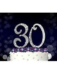 30, 30th Happy Birthday Cake Topper, Vow Renewal, Anniversary, Crystal Rhinestones on Silver Metal, Party Decorations, Favors
