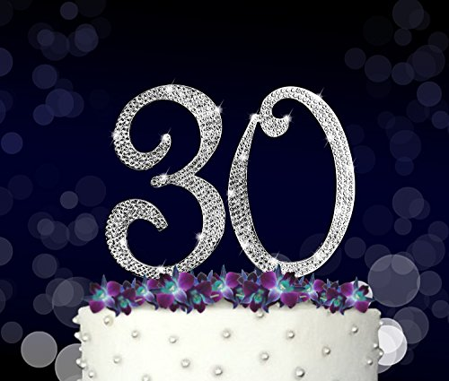 Frame Topper - 30, 30th Happy Birthday Cake Topper, Vow Renewal, Anniversary, Crystal Rhinestones on Silver Metal, Party Decorations, Favors
