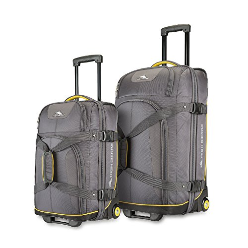 High Sierra 2 Piece Upright Wheeled Duffels, Grey with Sun Yellow Trim by High Sierra