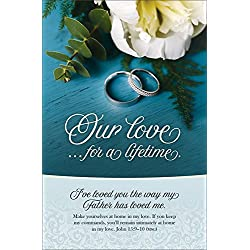 "Wedding Program Bulletin - ""Our Love....for a lifetime"" MSG Scripture - (Package of 100)"